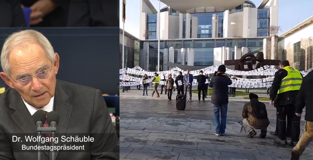 Die Leine des Grauens vor dem Bundeskanzleramt und Bundestagspräsident Wolfgang Schäuble