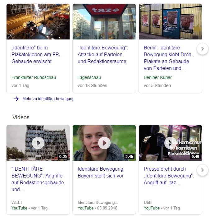 Google-Ergebnisse bei der Suche nach 'Identitäre Bewegung' einen Tag danach.