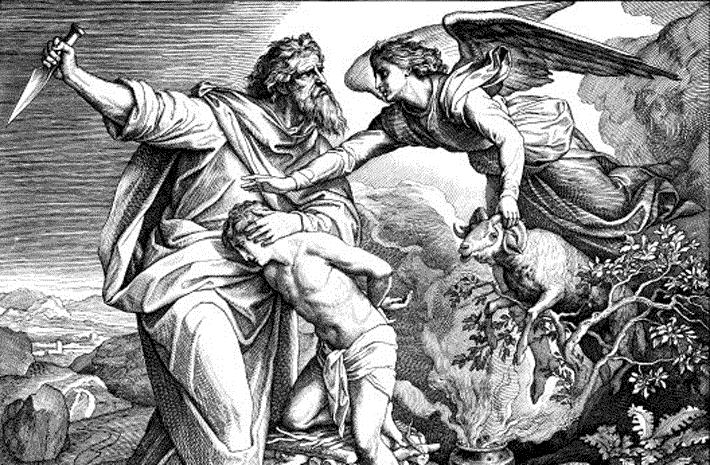 Holzschnitt von Julius Schnorr von Carolsfeld: Abraham will seinen Sohn Isaak opfern
