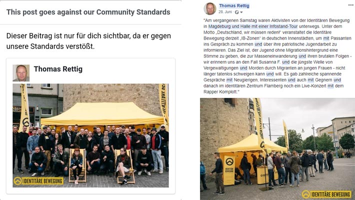 Anlass zu meiner dritten 30-Tage-Sperrung waren diese beiden Fotos einer sogenannten IB-Zone in Magdeburg