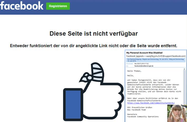 Was von meinem Facebook-Konto übrig blieb: Eine Fehlerseite